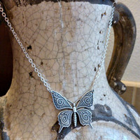 Sterling silver Butterfly pendant Necklace. Nature, Simple, everyday necklace.