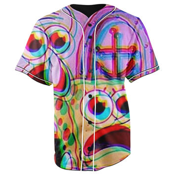 Trippy SpongeBob SquarePants & Squidward Tentacles Purple Button Up Baseball Jersey