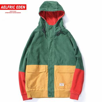 Aelfric Eden Hip Hop Hooded Jacket Men Autumn Winter Corduroy Bomber Jackets Coats Color Block 2018 Harajuku Casual Outwear UR28