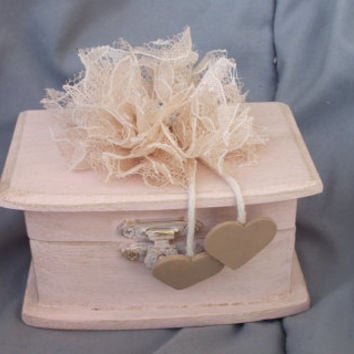 Beautiful Soft Blush Wedding Ring BOx with a Champagne Lace Flower Puff and Rhinestone Personalized Hearts