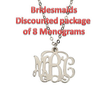 Bridesmaids Package of 8 Discounted Small Silver Monogram Necklace 20% off