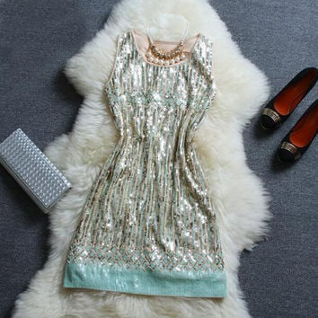 Fashion Stripe Sequins Beaded Gauze Dress