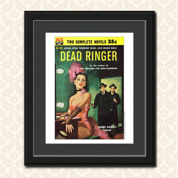 VINTAGE BOOK ART Pulp Fiction Paperback Cover Dime Novel Cover Retro Home Decor Detective Novel Wall Art Office Decor Art Print 1950s Book