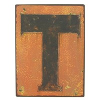 """9 1/2"""" Rustic Iron Wall Letter - T 