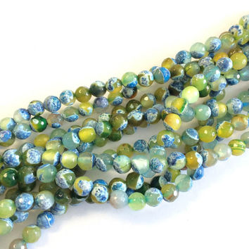 8mm Fire Natural Faceted Agate Green multi tone Gemstone beads