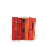 Red and Black  Vintage  Books for Home Decor,  Wedding Decor or Photography Prop