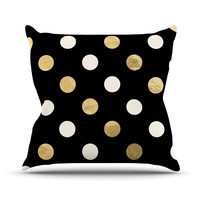 "KESS Original ""Golden Dots"" Black Gold Throw Pillow"