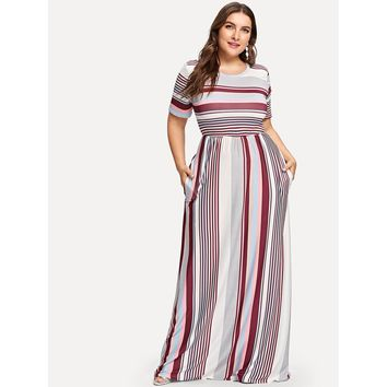 Plus Contrast Striped Hidden Pocket Dress Multi Color