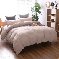 Bedding Sets Duvet Cover Pillowcase 3 PCS Solid Luxury Grey White Beige Double Printed Bedding Set Full Queen King