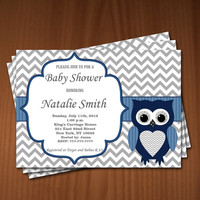 Owl Baby Shower Invitation Boy Baby Shower invitations Printable Baby Shower Invites -FREE Thank You Card - editable pdf Download (550) blue