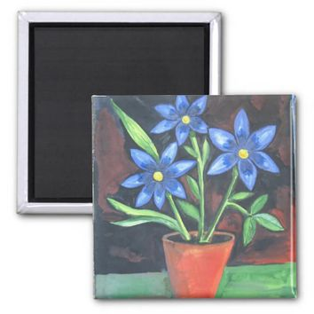 Blue Flowers 2 Inch Square Magnet