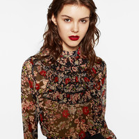 PRINTED BLOUSE WITH FRILLS DETAILS