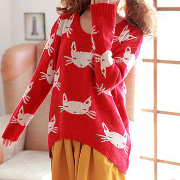 CAT SWEATER in RED by YOUREAFEVER on Etsy