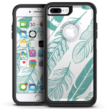 Teal Feather Pattern - iPhone 7 or 7 Plus Commuter Case Skin Kit