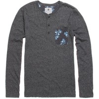On The Byas Arnie Printed Pocket Long Sleeve Henley T-Shirt - Mens Shirt - Gray -
