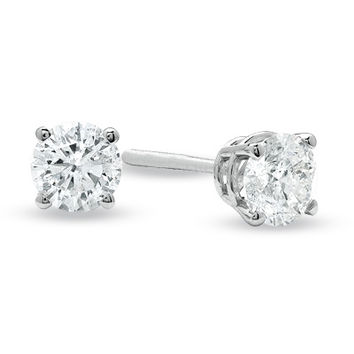 3/4 CT. T.W. Diamond Solitaire Stud Earrings in 14K White Gold
