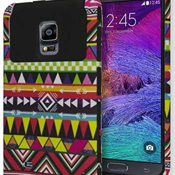 Samsung Galaxy Note 4 Hybrid  Black Cover  Tribal Aztec Case