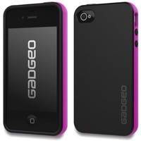 GADGEO iPhone 4 4S Slim Durable Flexible Protective TPU Case Cover - Soft Black Pink Cool Designer Case - iPhone 4 4S Strong Indestructible Silicone Rubber Phone Case Includes Screen Protector Film