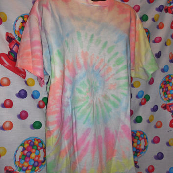Vintage 80s 90s Neon Pastel Rainbow Tie Dyed Hippy Shirt Retro Freeze Cool People Clothes Awesome Radical Fun Who Cares XL