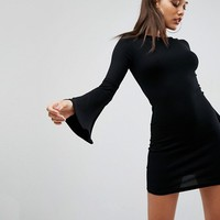 ASOS Mini Bodycon Dress with Fluted Sleeves at asos.com