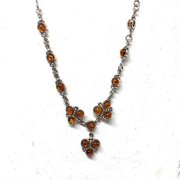 Sterling Silver Amber Necklace, Healing Amber Jewelry, Boho Amber Necklace, Bohemian Jewelry, Lavalier Necklace