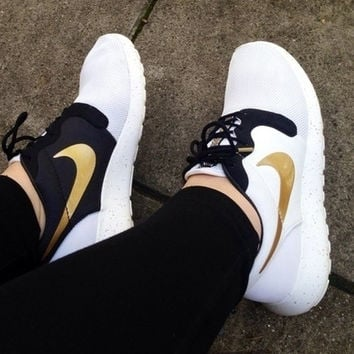 Nike Roshe Run Hyp Qs Women Men Golden Hook Running Sport Shoes Sneakers
