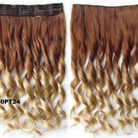 """Dip dye hairpieces New Fashion 24"""" Women Clip in on gradient wig Bath & Beauty Hair Ombre Hair Extensions Two Tone Curly Hair Gradient Hair Extension Colorful Hairpieces GS-888 30PT24,1PCS"""