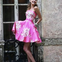 Sherri Hill Straight Strapless Floral Print Cocktail-Length Skirt