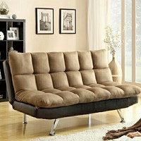 2 Tone Espresso PU and Brown Easy Rider Finish Quilted Upholstered Padding Adjustable Futon Sofa