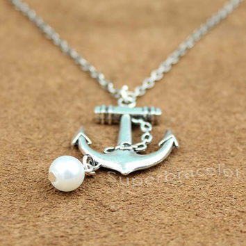 The Anchor Necklace, Silver, Custom Personalized Anchor Necklace, Bridesmaid Jewelry, Nautical Theme, the gift to girlfriend and BFF