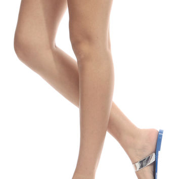 Royal Blue Silver Contrast Jelly Sandals