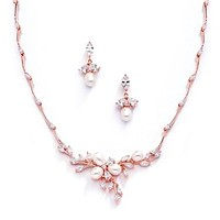 Vintage 14K Rose Gold Freshwater Pearl & CZ Necklace & Earring Set