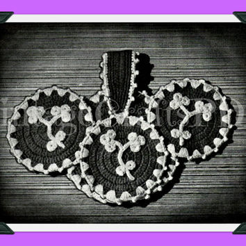 1940s Nose-Gay Flower Potholders Vintage Crochet Pattern is for potholders and matching case is great for housewarming bridal shower kitschy