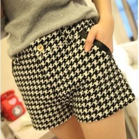 Slim Skinny Houndstooth Woolen Leather Joint Women Leisure Bootcut,Cheap in Wendybox.com