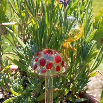 Garden Stake Mushroom House Plant Decor Lampwork by untamedrose