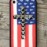American Flag Silver Studded Cross iPhone 4/4s Case