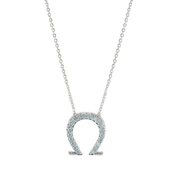 Shea CZ Horseshoe Silver Pendant Necklace