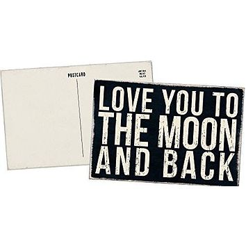 Love You to the Moon and Back - Mailable Wooden Greeting Post Card