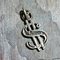 Vintage Sterling Silver Charm Dollar Sign S with Two Bars Money Charm for Bracelet or Necklace Pendant
