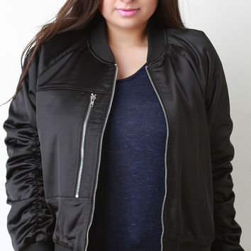 Silky Single Pocket Bomber Jacket