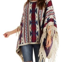 Taupe Combo Marled Geometric Print Poncho Sweater by Charlotte Russe