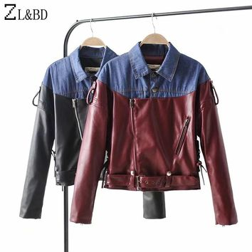 ZL&BD Fashion Denim Patchwork Contrast Color Jeans Jacket New Women Autumn Winter PU Leather Motor Bomber Jacket and Coat ZA921