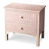 Vivienne Traditional Rectangular Bone Inlay Accent Chest Pink