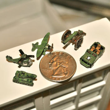 Dollhouse Miniature Army Military Vehicle Set, Hand Painted Miniature Metal Army Tank Plane Cannon Helicopter Jeep, 1:12 Scale