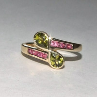 Vintage Pink and Green Tourmaline Solid 10k Yellow Gold Bypass Infiniti Ring, Pear and Princess Cut, Bezel and Channel Set