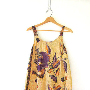 20% OFF SALE Vintage Sun Dress. Spaghetti strap dress. Floral tent dress in yellow and purple. Hippie Boho Slip Dress.