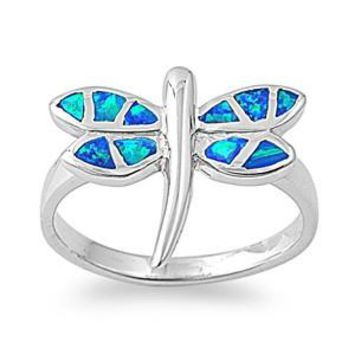 Sterling Silver Dragonfly 16MM Blue Lab Opal Ring
