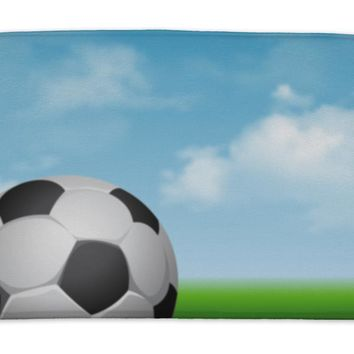 Bath Mat, Card For Football Sport Theme With Soccer Ball On And Green Grass At Sunny Day