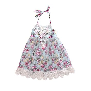 Toddler Enfant Children Girl Summer Clothing Cute Kids Baby Girls Lace Floral Dress Tulle Party Dresses Gown Formal Sundress