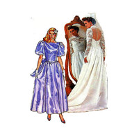 1980s Butterick 3616 Woman's Wedding or Bridesmaid Dress Size 12 || Bust 34in /86cm || Vintage Sewing Pattern UNCUT